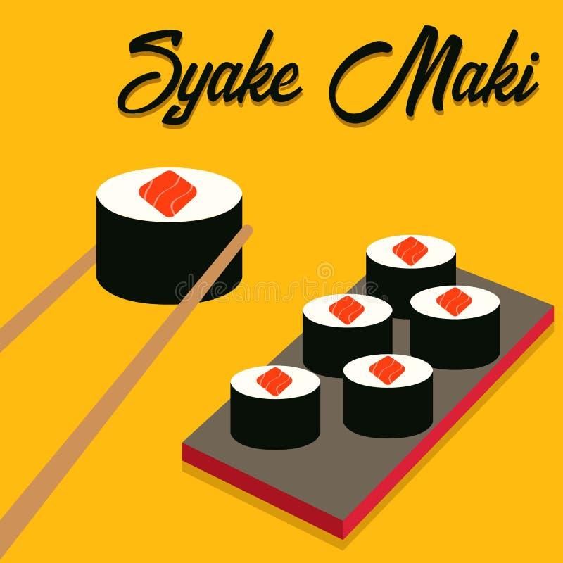 Iconos del sushi fijados Alimento asi?tico Comida plana del estilo stock de ilustración