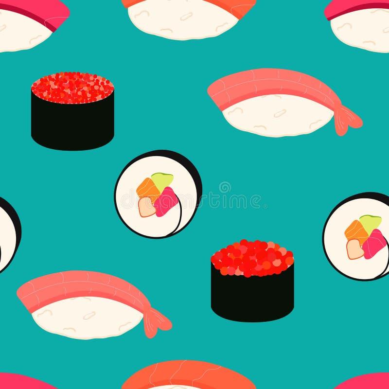 Iconos del sushi fijados Alimento asi?tico Modelo incons?til imagenes de archivo