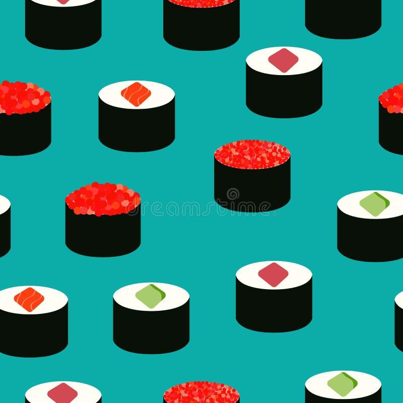 Iconos del sushi fijados Alimento asi?tico Modelo incons?til Iconos isom?tricos Comida plana del estilo foto de archivo libre de regalías