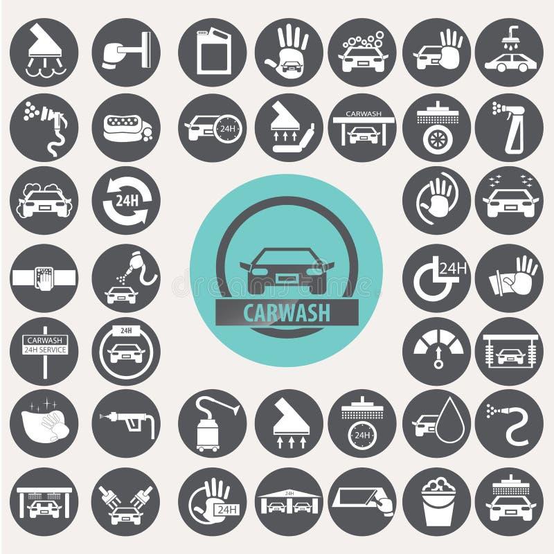 Iconos del túnel de lavado fijados ilustración del vector