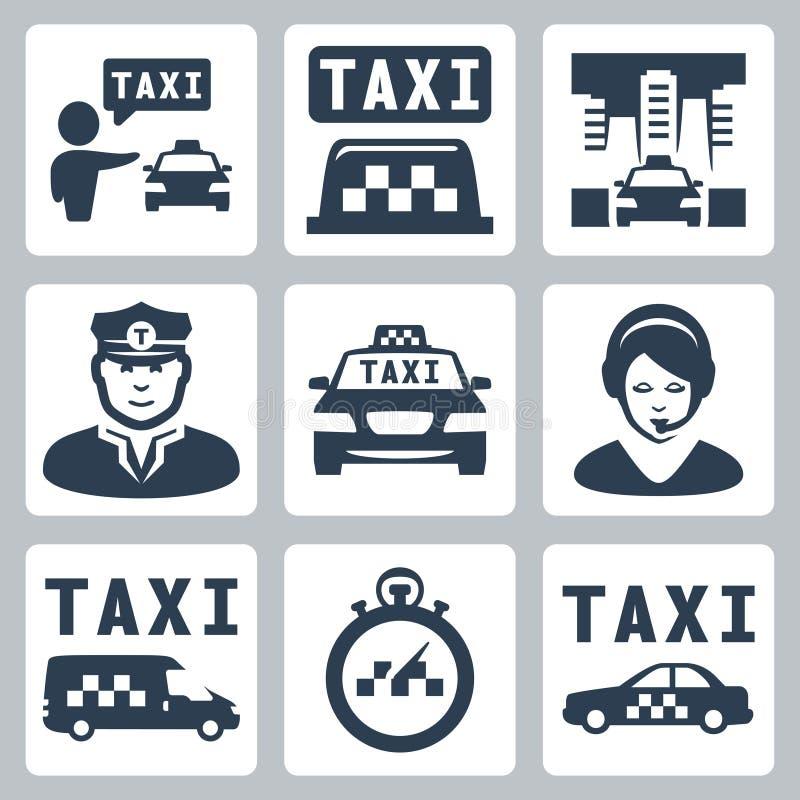 Iconos del taxi del vector fijados libre illustration