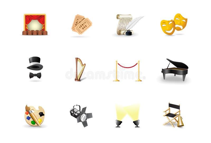 Iconos del teatro stock de ilustración