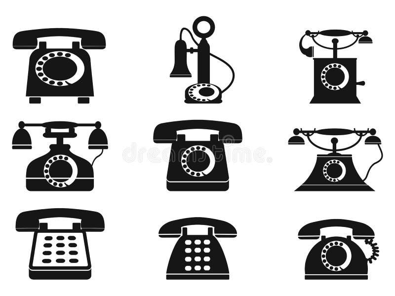 Iconos del teléfono del vintage stock de ilustración