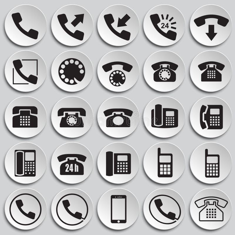 Iconos del teléfono fijados en el fondo de las placas para el gráfico y el diseño web, muestra simple moderna del vector Concepto stock de ilustración