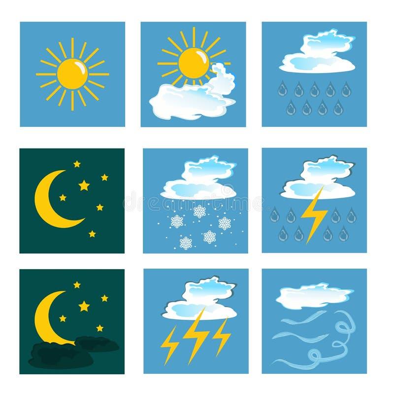 Iconos del tiempo conjunto ilustración del vector