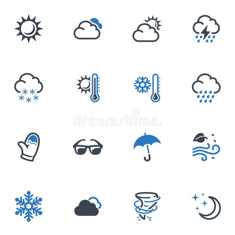 Iconos del tiempo - serie azul stock de ilustración