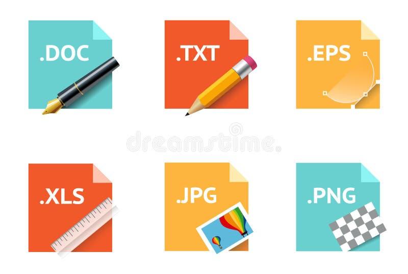 Iconos del tipo de archivo ilustración del vector