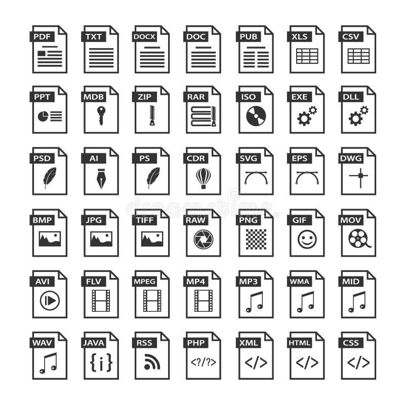 Iconos del tipo de archivo Icono del formato de ficheros fijado en blanco y negro stock de ilustración