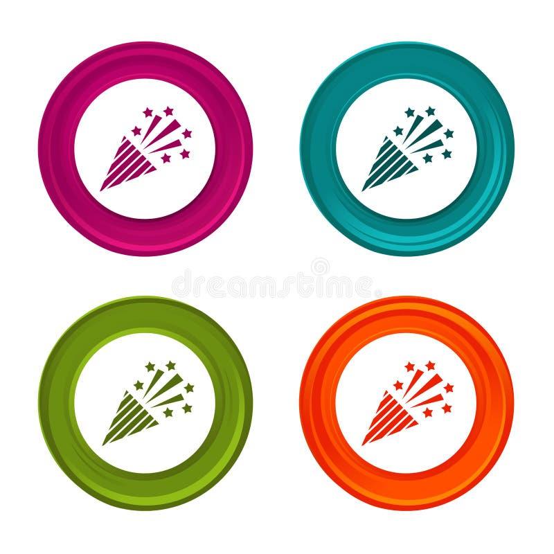 Iconos del tostador de palomitas de maíz del confeti Muestras del partido Botón colorido del web con el icono libre illustration