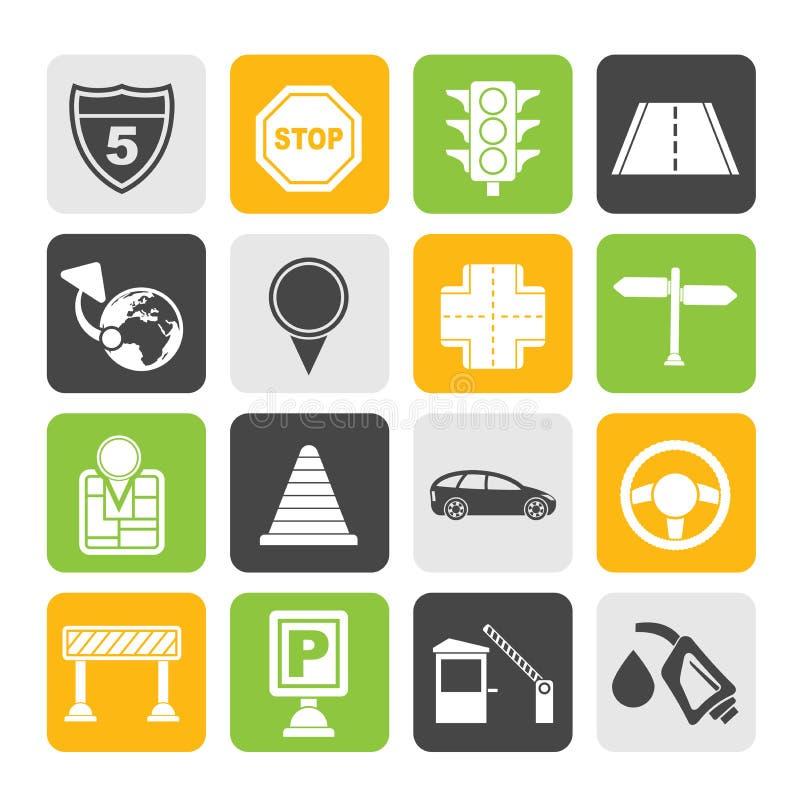 Iconos del tráfico, del camino y del viaje de la silueta ilustración del vector