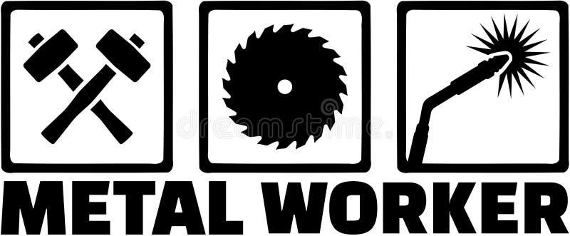Iconos del trabajador del metal stock de ilustración