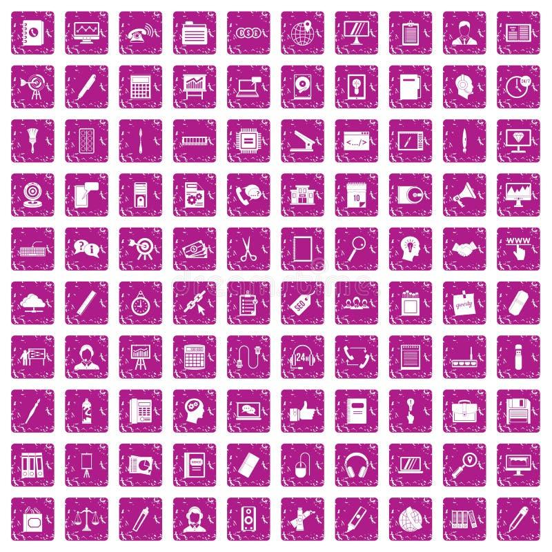 100 iconos del trabajo de oficina fijaron rosa del grunge ilustración del vector