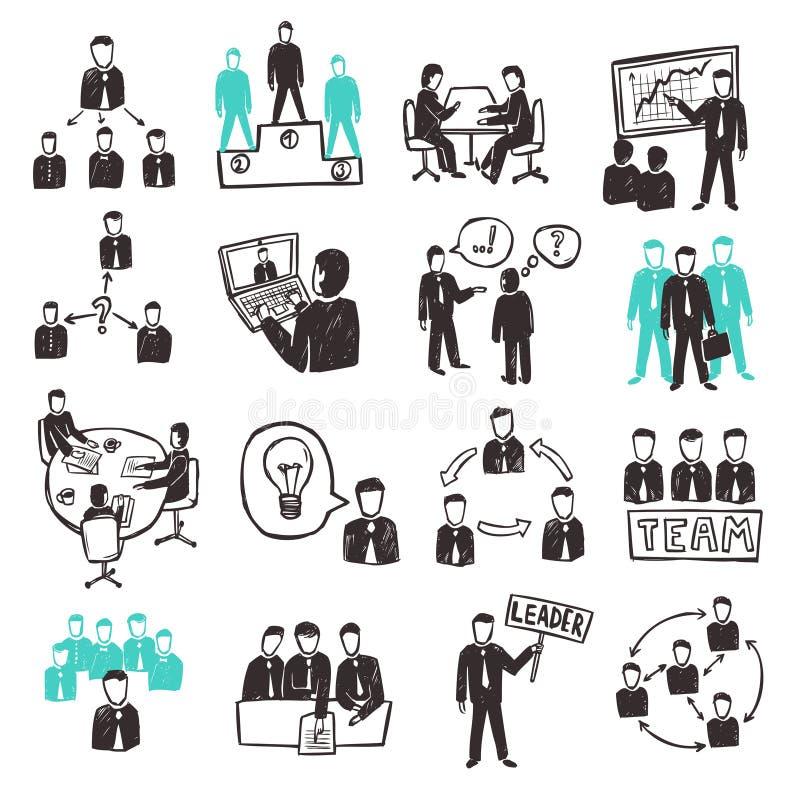 Iconos del trabajo en equipo fijados ilustración del vector