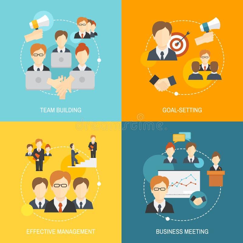 Iconos del trabajo en equipo planos stock de ilustración
