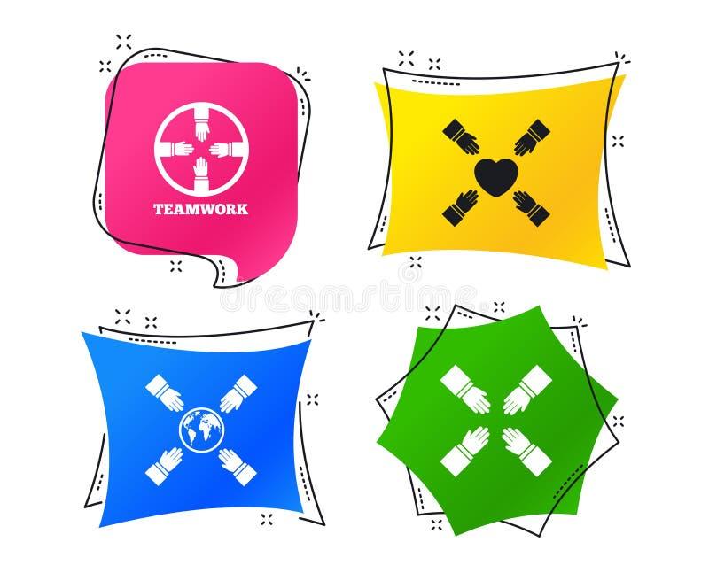 Iconos del trabajo en equipo Símbolos de las manos amigas Vector ilustración del vector