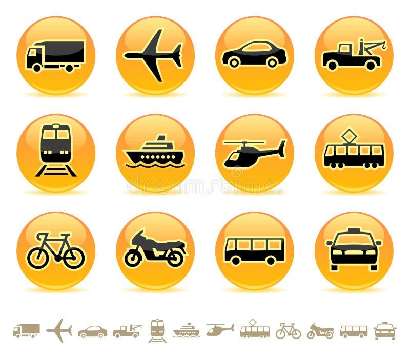 Iconos del transporte/botones 3 ilustración del vector
