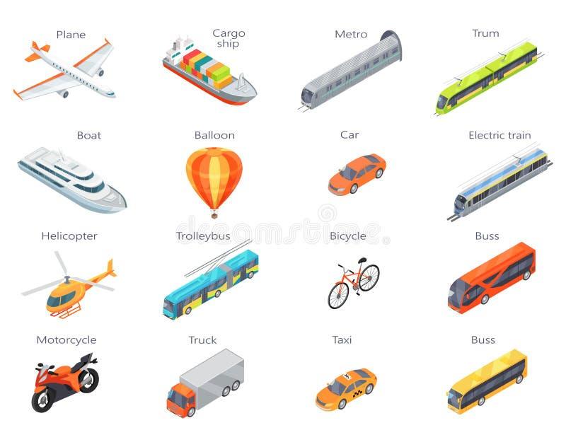 Iconos del transporte del vector en la proyección isométrica ilustración del vector