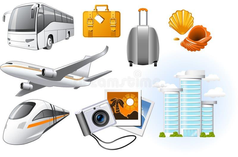Iconos del transporte y del recorrido libre illustration