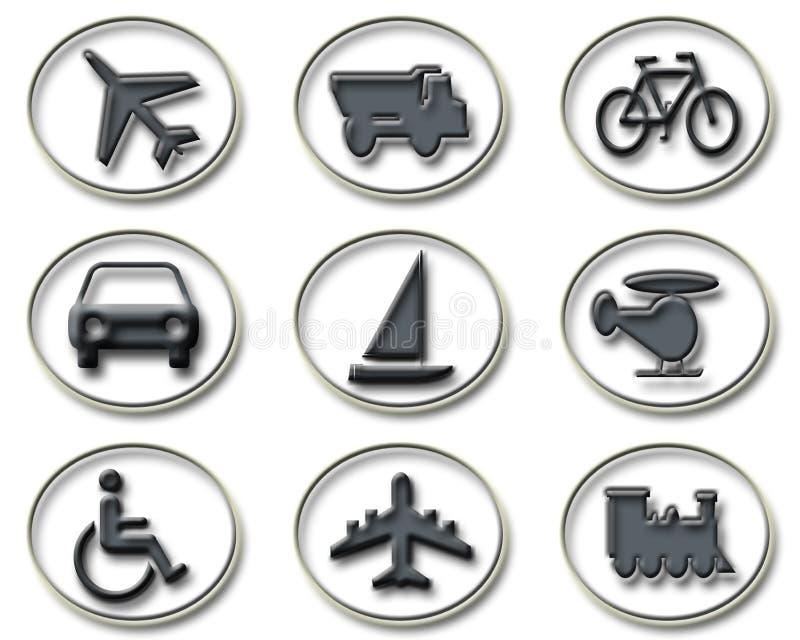 Iconos del transporte y del recorrido stock de ilustración