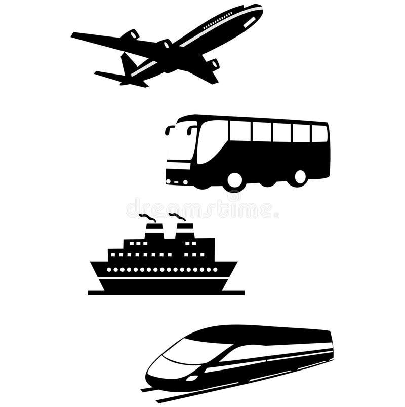 Iconos del transporte y del viaje stock de ilustración