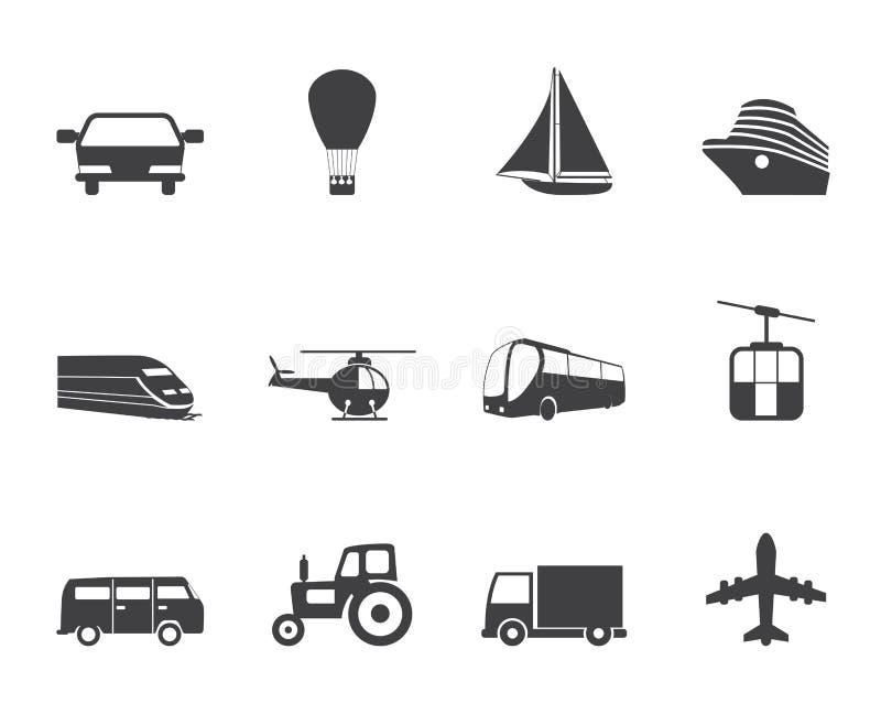 Iconos del transporte y del viaje de la silueta stock de ilustración