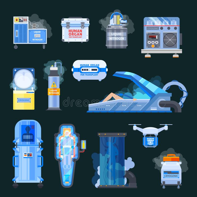 Iconos del trasplante de los órganos humanos de Cryonics stock de ilustración