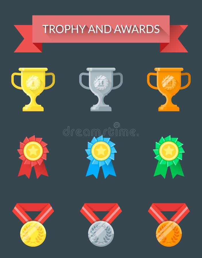 Iconos del trofeo y de los premios stock de ilustración