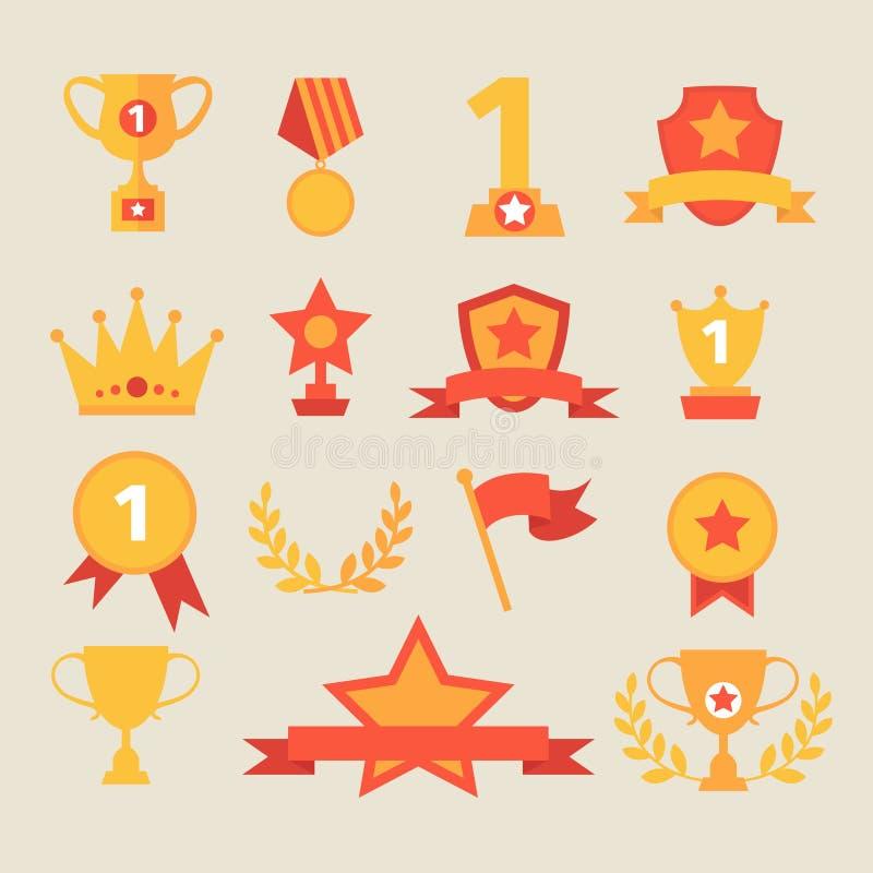 Iconos del trofeo y de los premios fijados Ilustración del vector ilustración del vector
