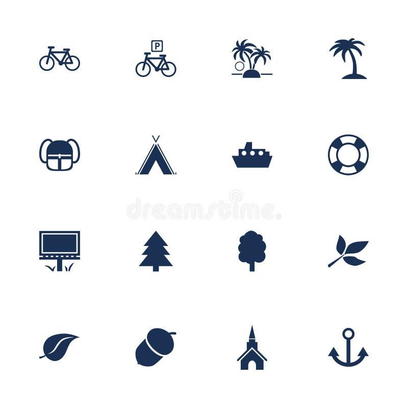 Iconos del turismo y del ocio libre illustration