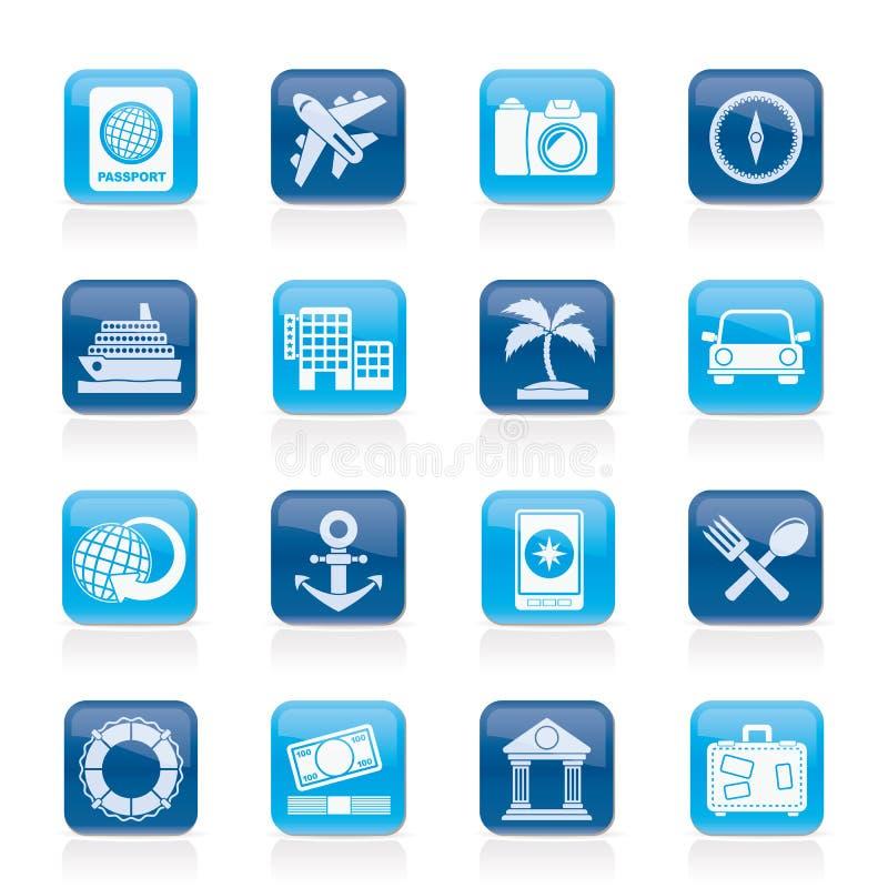 Iconos del turismo y del viaje stock de ilustración