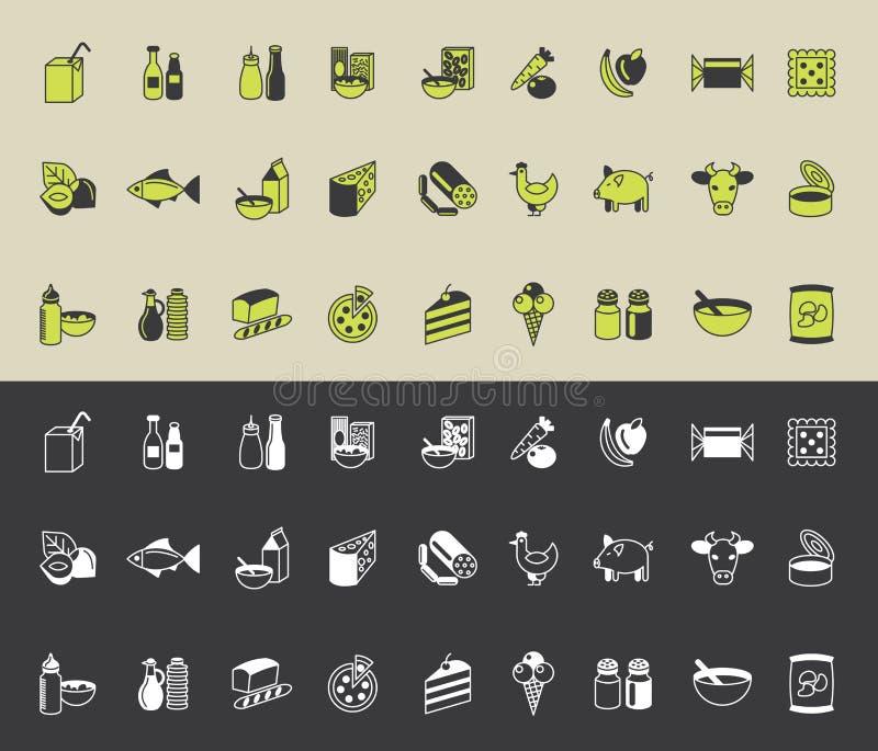 Iconos del ultramarinos fijados ilustración del vector
