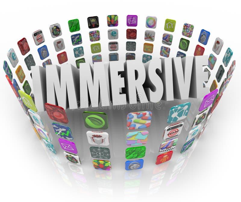 Iconos del uso del programa informático del App de la palabra de Immersive stock de ilustración