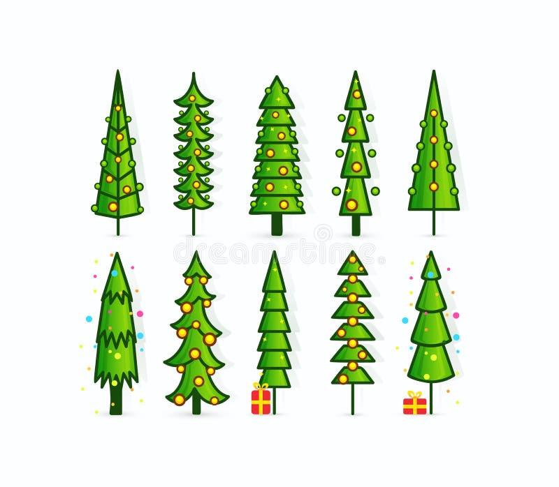 Iconos del vector del árbol de navidad Fije de pinos del esquema con las guirnaldas, los regalos y las decoraciones Árboles verde ilustración del vector