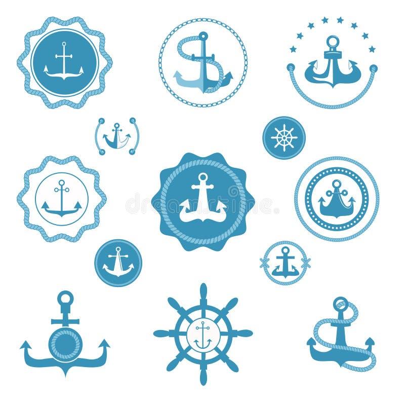 Iconos del vector del ancla del vintage y muestra retros de la etiqueta del elemento gráfico del océano marino del mar náutico Em ilustración del vector