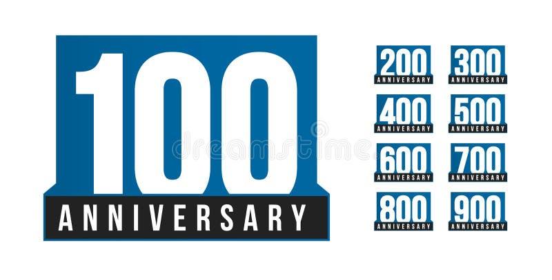 Iconos del vector del aniversario fijados Plantilla del logotipo del cumpleaños Elemento del desig de la tarjeta de felicitación  stock de ilustración