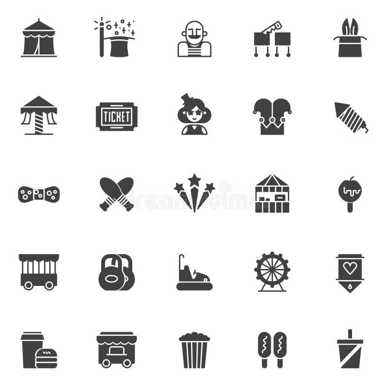 Iconos del vector del circo fijados ilustración del vector