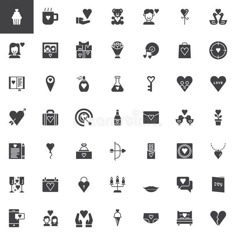 Iconos del vector del día del ` s de la tarjeta del día de San Valentín fijados stock de ilustración
