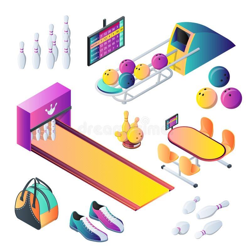 Iconos del vector 3d del club y sistema de elementos isométricos del diseño que ruedan Bolas de bolos, bolos y ejemplo del equipo stock de ilustración