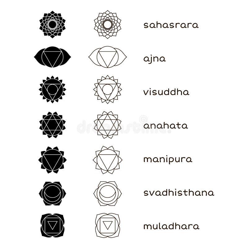 Iconos del vector de Chakras blancos y negros ilustración del vector