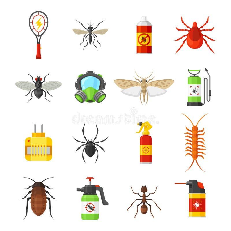 Iconos del vector de control de parásito en el fondo blanco ilustración del vector