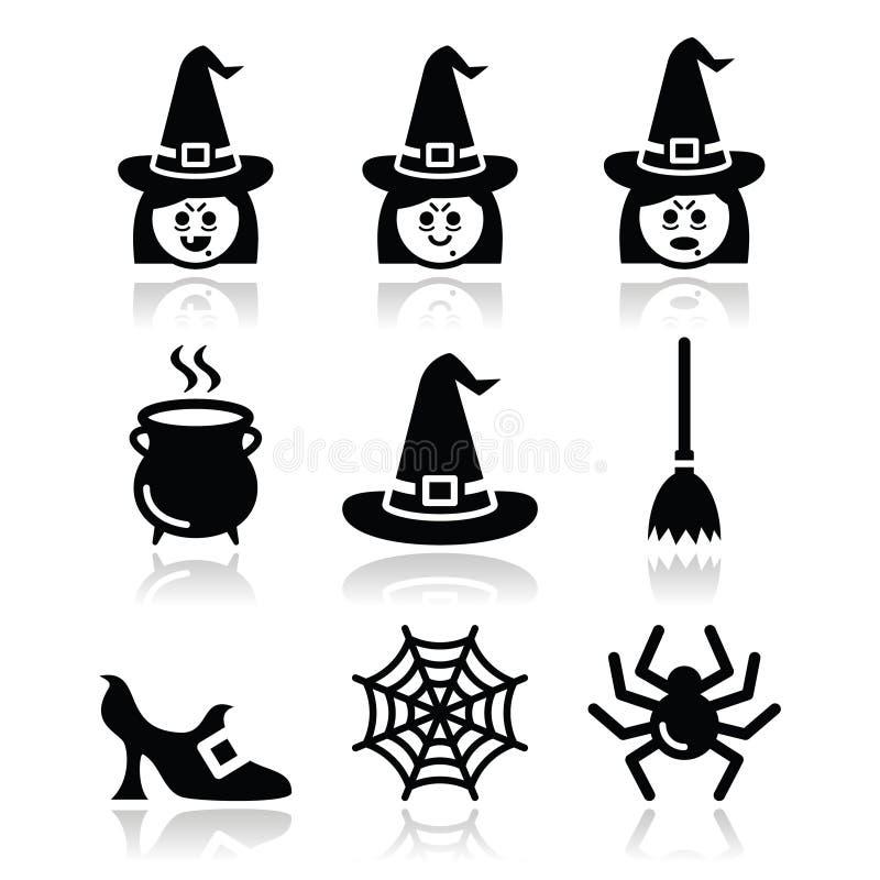 Iconos del vector de Halloween de la bruja fijados libre illustration