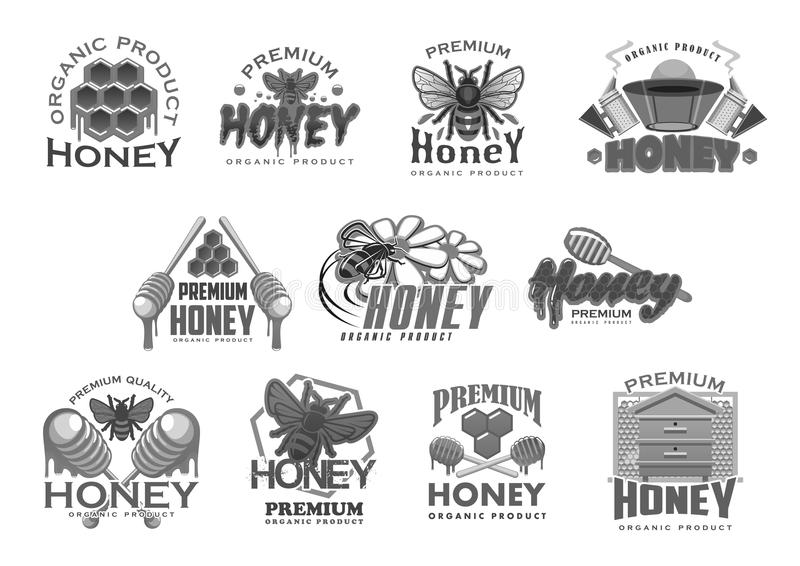 Iconos del vector de la abeja y del honecomb de la apicultura de la miel ilustración del vector