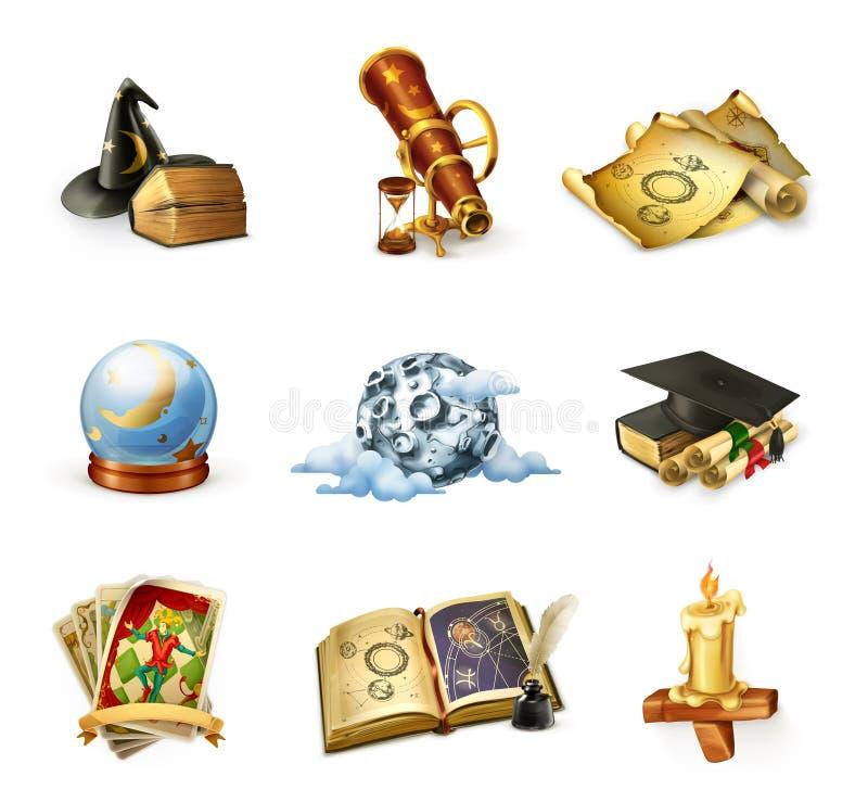 Iconos del vector de la astrología ilustración del vector