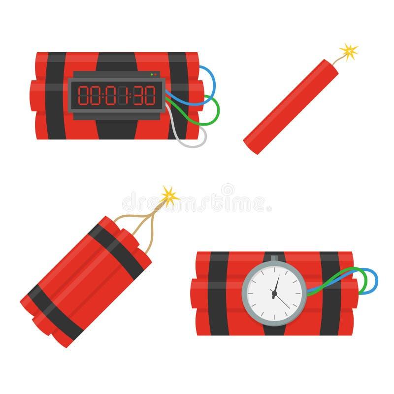 Iconos del vector de la bomba de la dinamita fijados ilustración del vector