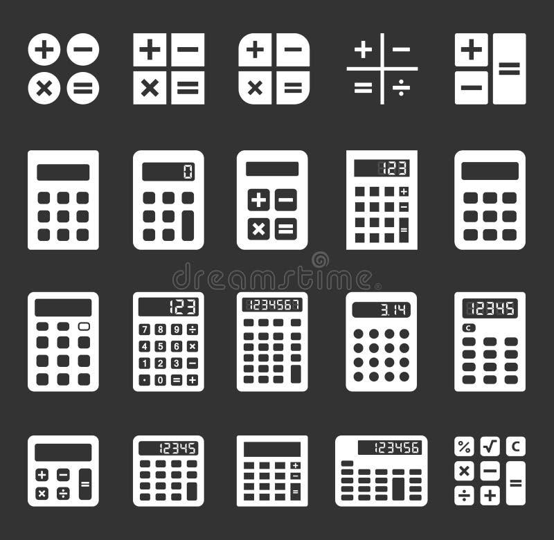 Iconos del vector de la calculadora ilustración del vector