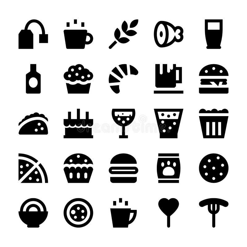 Iconos 4 del vector de la comida y de las bebidas ilustración del vector
