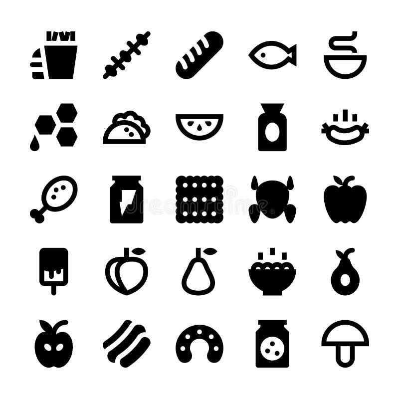 Iconos 6 del vector de la comida y de las bebidas stock de ilustración
