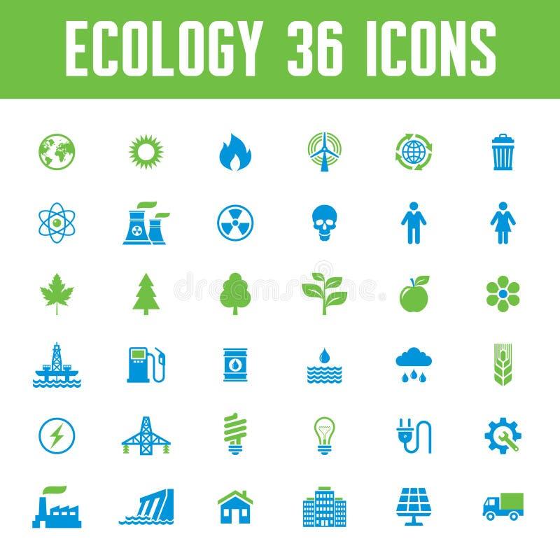 Iconos del vector de la ecología fijados - ejemplo creativo en tema de la energía ilustración del vector