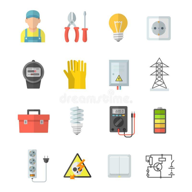 Iconos del vector de la electricidad en estilo plano libre illustration