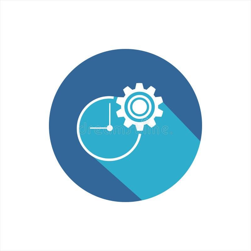 Iconos del vector de la gestión de tiempo con la sombra larga stock de ilustración